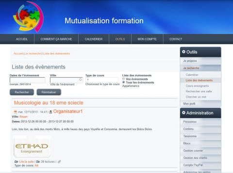 mutualisation formation web design dynamic search